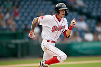 Shortstop Christian Koss (8) of the Greenville Drive in a game against the Greensboro Grasshoppers on Thursday, July 22, 2021, at Fluor Field at the West End in Greenville, South Carolina. (Tom Priddy/Four Seam Images)