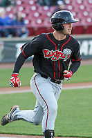 Lansing Lugnuts catcher Ryan Hissey (15) heads towards first base during a Midwest League game against the Wisconsin Timber Rattlers on April 29th, 2016 at Fox Cities Stadium in Appleton, Wisconsin.  Wisconsin defeated Lansing 2-0. (Brad Krause/Four Seam Images)