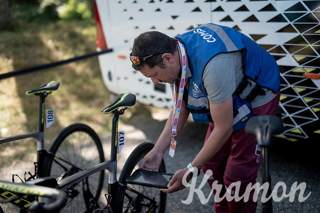 pre-race UCI technical controll<br /> <br /> Stage 11: Saint-Palais to Urdax-Dantxarinea (180km in The Basque Country > FRA & ESP) <br /> La Vuelta 2019<br /> <br /> ©kramon