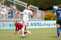 CARY, NC - SEPTEMBER 12: Sophia Smith #9 of the Portland Thorns celebrates her goal during a game between Portland Thorns FC and North Carolina Courage at Sahlen's Stadium at WakeMed Soccer Park on September 12, 2021 in Cary, North Carolina.
