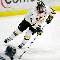 6 November 2009: University of Vermont Catamount defenseman Kevan Miller, a Junior from Los Angeles, CA, in third period action against the University of Massachusetts Lowell River Hawks at Gutterson Fieldhouse in Burlington, Vermont. The Hockey East rivals battled to a 3-3 tie. Mandatory Credit: Ed Wolfstein Photo