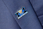 St Johnstone v Lask…26.08.21  McDiarmid Park    Europa Conference League Qualifier<br />The double cup winning badge on Chairman's Steve Brown as he arrives ahead of tonight's game<br />Picture by Graeme Hart.<br />Copyright Perthshire Picture Agency<br />Tel: 01738 623350  Mobile: 07990 594431