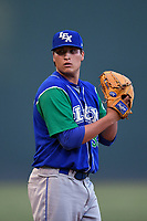 Relief pitcher Robert Garcia (33) of the Lexington Legends gets ready to deliver a pitch during a game against the Greenville Drive on Sunday, September 2, 2018, at Fluor Field at the West End in Greenville, South Carolina. Greenville won, 7-4. (Tom Priddy/Four Seam Images)