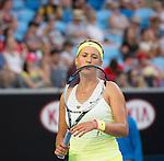 Victoria Azarenka (BLR) defeats Barbora Zahlavova Strychova (CZE) 6-4, 6-4 at the Australian Open being played at Melbourne Park in Melbourne, Australia on January 24, 2015