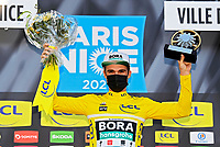 14th March 2021, Levens, France;  SCHACHMANN Maximilian (GER) of BORA - hansgrohe on podium after stage 8 of the 79th edition of the 2021 Paris - Nice cycling race, a stage of 92,7 kms between Plan-du-Var and Levens on March 14, 2021 in Levens, France