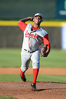 Lowell Spinners pitcher Mario Alcantara (28) during a game against the Tri-City ValleyCats on July 6, 2013 at Joseph L. Bruno Stadium in Troy, New York.  Lowell defeated Tri-City 4-3.  (Mike Janes/Four Seam Images)