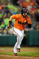Richmond Flying Squirrels left fielder Matt Lipka (9) runs to first base during a game against the Trenton Thunder on May 11, 2018 at The Diamond in Richmond, Virginia.  Richmond defeated Trenton 6-1.  (Mike Janes/Four Seam Images)