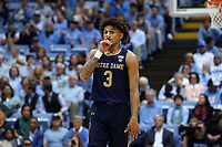 CHAPEL HILL, NC - NOVEMBER 06: Prentiss Hubb #3 of the University of Notre Dame during a game between Notre Dame and North Carolina at Dean E. Smith Center on November 06, 2019 in Chapel Hill, North Carolina.