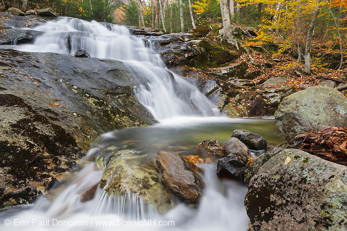 Stark Falls on Stark Falls Brook in Kinsman Notch in North Woodstock, New Hampshire during the autumn months.