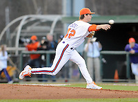 Pitcher Clay Bates (42) of the Clemson Tigers in a game against the William & Mary Tribe on Opening Day, Friday, February 15, 2013, at Doug Kingsmore Stadium in Clemson, South Carolina. Clemson won, 2-0. (Tom Priddy/Four Seam Images)