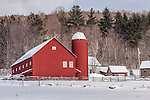 Fresh snow at a farm in Weston, VT, USA