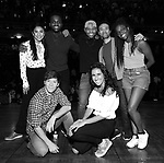 """Thayne Jasperson, Gabby Sorrentino, Lauren Boyd, Deon'te Goodman, Terrance Spencer, Marc delaCruz and Johanna Moise during the Q & A before The Rockefeller Foundation and The Gilder Lehrman Institute of American History sponsored High School student #EduHam matinee performance of """"Hamilton"""" at the Richard Rodgers Theatre on 5/22/2019 in New York City."""