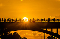 Bat watchers stand in silhouette on the Congress Avenue Bridge as they wait for Austin famous bats to take flight, downtown Austin, Texas.