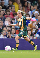 July 31, 2012..South Africa's Kylie Louw (8) in action during Group F women's Football match between JPN and RSA at the Millennium Stadium on day four of 2012 Olympic Games in Cardiff, United Kingdom...
