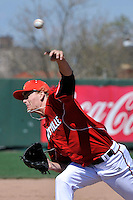 Louisville Cardinals pitcher Cody Ege (13) during a game against St.John's Red Storm at Jack Kaiser Stadium in Queens, New York;  April 17, 2011.  St. John's defeated Louisville 7-2.  Photo By Tomasso DeRosa/Four Seam Images