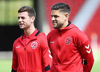 Fleetwood Town's Danny Andrew (front) inspects the surroundings before kick off<br /> <br /> Photographer David Shipman/CameraSport<br /> <br /> The EFL Sky Bet League One - Doncaster Rovers v Fleetwood Town - Saturday 17th August 2019  - Keepmoat Stadium - Doncaster<br /> <br /> World Copyright © 2019 CameraSport. All rights reserved. 43 Linden Ave. Countesthorpe. Leicester. England. LE8 5PG - Tel: +44 (0) 116 277 4147 - admin@camerasport.com - www.camerasport.com