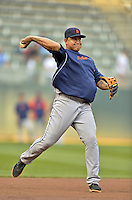28 September 2012: Detroit Tigers third baseman Miguel Cabrera warms up prior to a game against the Minnesota Twins at Target Field in Minneapolis, MN. The Twins defeated the Tigers 4-2 in the first game of their 3-game series. Mandatory Credit: Ed Wolfstein Photo
