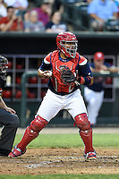 Memphis Redbirds catcher Audry Perez (40) checks the runner during a game against the Oklahoma City RedHawks on May 23, 2014 at AutoZone Park in Memphis, Tennessee.  Oklahoma City defeated Memphis 12-10.  (Mike Janes/Four Seam Images)