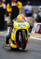 Sept. 16, 2011; Concord, NC, USA: NHRA pro stock motorcycle rider Michael Phillips during qualifying for the O'Reilly Auto Parts Nationals at zMax Dragway. Mandatory Credit: Mark J. Rebilas-