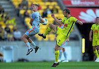 Phoenix's Matti Steinmann fouls Brisbane's Stefan Mauk during the A-League football match between Wellington Phoenix and Brisbane Roar at Westpac Stadium in Wellington, New Zealand on Saturday, 23 November 2019. Photo: Dave Lintott / lintottphoto.co.nz