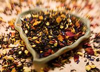 Chinese Flower Green Tea on a Green Leaf Shape Plate&#xA;&#xA;<br />