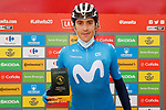 Marc Soler (ESP) Movistar Team is awarded most aggressive rider of yesterday's stage at sign on before the start of Stage 18 of the Vuelta Espana 2020, running 139.6km from Hipódromo de La Zarzuela to Madrid, Spain. 8th November 2020. <br /> Picture: Luis Angel Gomez/PhotoSportGomez | Cyclefile<br /> <br /> All photos usage must carry mandatory copyright credit (© Cyclefile | Luis Angel Gomez/PhotoSportGomez)