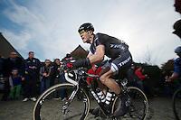 Jasper Stuyven (BEL/Trek Factory Racing) up the Paterberg<br /> <br /> <br /> Dwars Door Vlaanderen 2014
