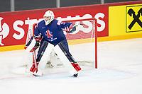 23rd May 2021, Riga Olympic Sports Centre Latvia; 2021 IIHF Ice hockey, Eishockey World Championship, Great Britain versus Slovakia;  goalkeeper Ben Bowns Great Britain calling the defense