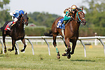 July 12, 2014: CORRECTED CAPTION: Hardest Core, Eriluis Vaz up, wins the Cape Henlopen Stakes at Delaware Park in Stanton Delaware. Trainer is Edward Graham; owner is Andrew Bentley Stables. ©Joan Fairman Kanes/ESW/CSM