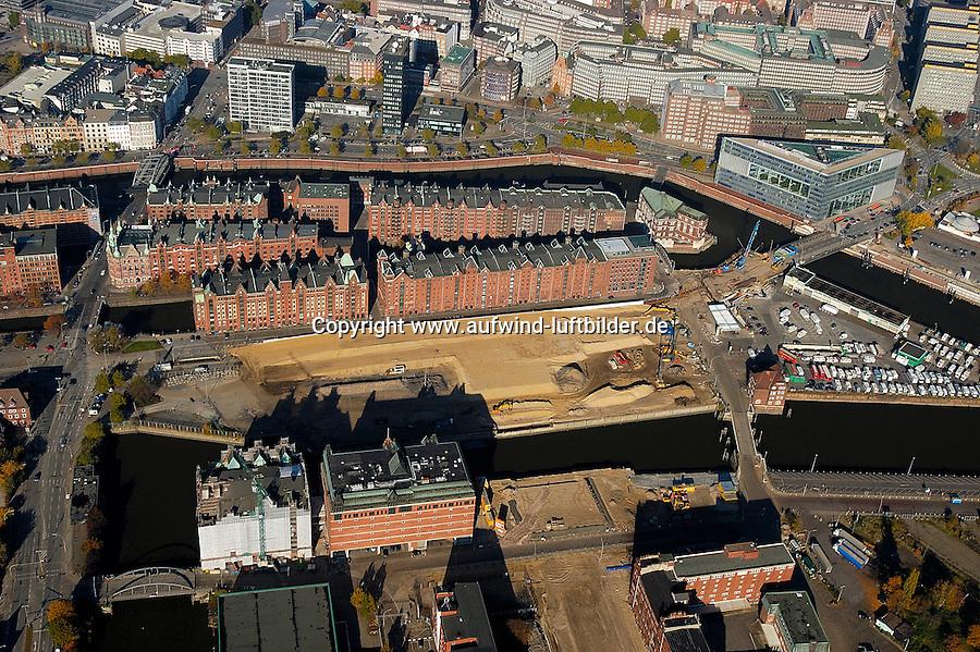Hafencity:DEUTSCHLAND, HAMBURG, 30.10.2005:Hafencity, Speicherstadt, Oberbaum, Ericusspitze, Brooktorkai, Lohseplatz, Stockmeyerstrasse, Magdeburgerstrasse