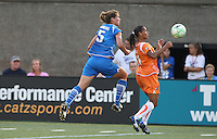Sky Blue FC forward Rosana (#11) traps the ball with Boston Breakers midfielder Maggie Tomecka at her back. The Boston Breakers tied Sky Blue FC 0-0 on July 25, 2009.