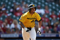 Austin James (23) of the Missouri Tigers hustles down the first base line against the Oklahoma Sooners in game four of the 2020 Shriners Hospitals for Children College Classic at Minute Maid Park on February 29, 2020 in Houston, Texas. The Tigers defeated the Sooners 8-7. (Brian Westerholt/Four Seam Images)