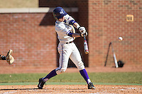 Chris Clare (9) of the High Point Panthers makes contact with the baseball during the game against the LIU-Brooklyn Blackbirds at Willard Stadium on March 8, 2015 in High Point, North Carolina.  The Panthers defeated the Blackbirds 9-0.  (Brian Westerholt/Four Seam Images)