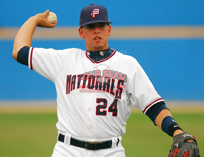 25 June 2007: Chris Marrero of the Potomac Nationals, Class A affiliate of the Washington Nationals, vs. the Frederick Keys, a Baltimore Orioles affiliate, at Pfitzner Stadium, Woodbridge, Va.  Photo by:  Tom Priddy/Four Seam Images