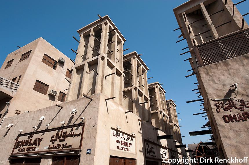 Vereinigte arabische Emirate (VAE), Dubai, Windtürme im Bastakiya-Viertel