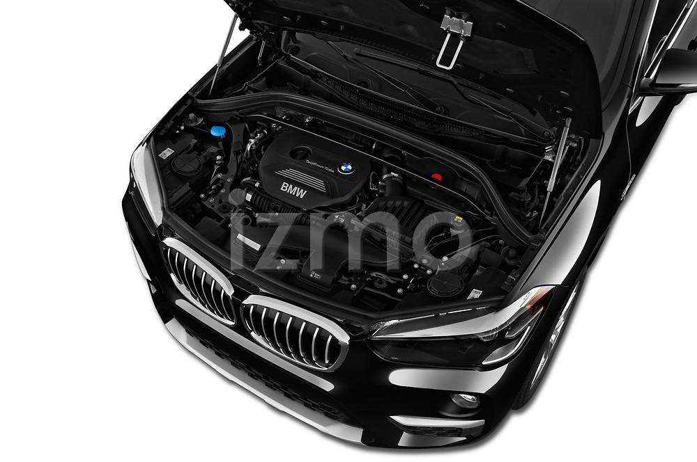 Car stock 2018 BMW X1 xDrive28i 5 Door SUV engine high angle detail view