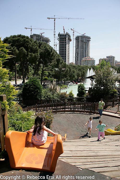 Ozgurluk Park, Kadikoy, Turkey, with apartment blocks under construction in the background