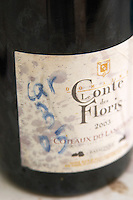 Carignan 2005 in a sampling bottle. Domaine Le Conte des Floris, Caux. Pezenas region. Languedoc. France. Europe. Bottle.