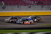 #4: Todd Gilliland, Kyle Busch Motorsports, Toyota Tundra JBL/SiriusXM, #18: Noah Gragson, Kyle Busch Motorsports, Toyota Tundra Safelite AutoGlass, and #8: John Hunter Nemechek, NEMCO Motorsports, Chevrolet Silverado Berry's Manufacturing