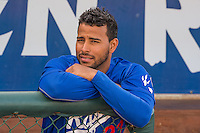 Ogden Raptors coach Angel Sanchez (33) before the game against the Great Falls Voyagers in Pioneer League action at Lindquist Field on July 16, 2015 in Ogden, Utah. Ogden defeated Great Falls 5-2.  (Stephen Smith/Four Seam Images)