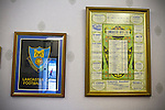 Lancaster City 0 FC Halifax Town 3, 15/10/2011, Giant Axe, FA Cup Third Qualifying Round. Framed memorabilia on the walls in the boardroom at Lancaster City's Giant Axe ground prior to the club's FA Cup third qualifying round match against FC Halifax Town. The visitors, who play two leagues above their hosts in the English football pyramid, won the ties by three goals to nil, watched by a crowd of 646 spectators. Lancaster City were celebrating their centenary in 2011, although there was a dispute over the exact founding date over the club known as Dolly Blue. Photo by Colin McPherson.