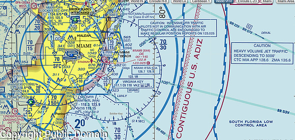 NOAA FAA sectional chart of the Miami Seaplane Base (X44), Miami, Florida; this seaplane base is located on Watson Island about 2 miles east of Miami's central business district