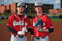 Great Lakes Loons outfielder Alex Verdugo (9) and pitcher Grant Holmes (44) pose for a photo before a game against the Dayton Dragons on May 21, 2015 at Fifth Third Field in Dayton, Ohio.  Great Lakes defeated Dayton 4-3.  (Mike Janes/Four Seam Images)