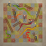 Snakes and ladders depicting the concepts of business ups and downs