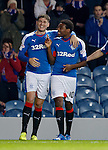 Nathan Oduwa celebrates with Rob Kiernan after scoring goal no 3 for Rangers