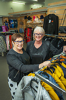 Sherryl Turley (left) and Deb Graham-Karaitiana (owner) of Milady Fashion shop in Masterton, New Zealand on Thursday, 30 July 2020. Photo: Dave Lintott / lintottphoto.co.nz
