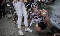 Gianni Vermeersch (BEL/Steyaerts-Verona) exhausted after finishing<br /> <br /> Brico-cross Geraardsbergen 2016<br /> U23 + Elite Mens race