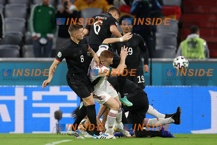 MUNICH, GERMANY - JUNE 23: Laszlo Kleinheisler of Hungary is challenged by Toni Kroos, Joshua Kimmich and Leroy Sane of Germany during the UEFA Euro 2020 Championship Group F match between Germany and Hungary at Allianz Arena on June 23, 2021 in Munich, Germany. (Photo by Alex Grimm - UEFA/UEFA via Getty Images)<br /> Photo Uefa/Insidefoto ITA ONLY