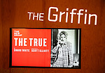 """Theatre Marquee for the New Group World Premiere of """"The True"""" on September 20, 2018 at The Green Fig Urban Eatery in New York City."""