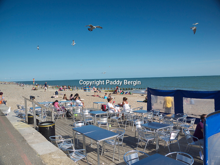 Littlehampton Seaside Resort, Beach Cafe and Promenade, West Sussex.<br /> <br /> Stock Photo by Paddy Bergin